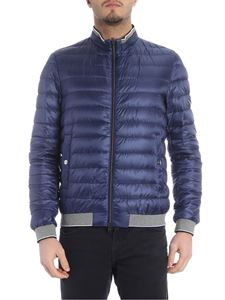 Herno - Light blue down jacket with grey knit edges