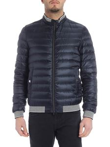 Herno - Herno down jacket in blue with grey knitted edges
