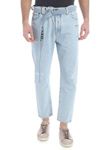 Off-White - Off-White low crotch jeans in light blue