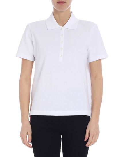 2f9b5a437fe Thom Browne Spring Summer 2019 white polo with thom browne logo ...