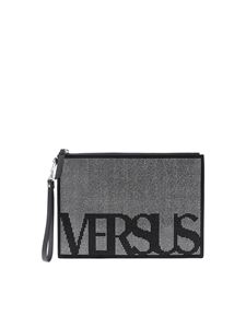Versus Versace - Black clutch bag with black and silver rhinestones