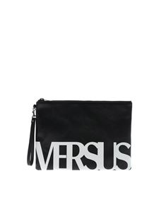 Versus Versace - Black clutch bag with white logo print