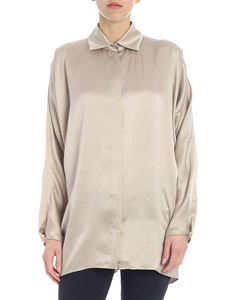 Max Mara - Porfido shirt in beige satin with silver rhinestones