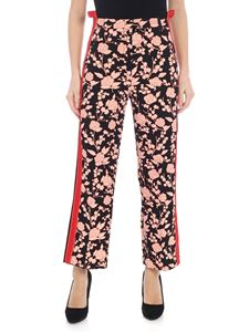 Pinko - Trousers in raspberry printed black cady
