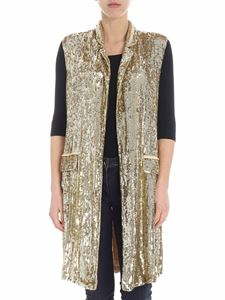 Parosh - Golden sequined long waistcoat