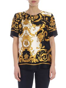 Parosh - Black and white blouse with yellow pattern