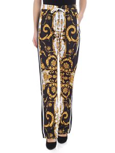 Parosh - Black and white trousers with yellow pattern