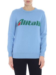 Alberta Ferretti - Alitalia crew neck pullover in light blue wool