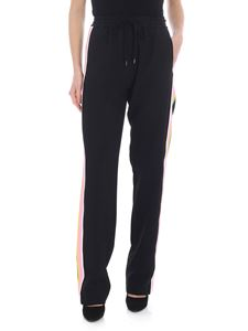 N° 21 - Black palazzo trousers with multicolor side band