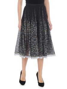 N° 21 - Black and green pleated round skirt