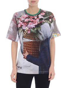 N° 21 - Crew-neck t-shirt with flowers print and rhinestones