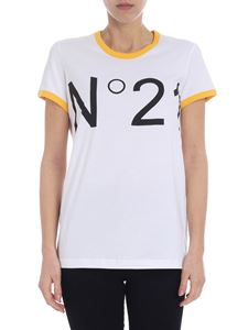 N° 21 - White crewneck t-shirt with yellow edges