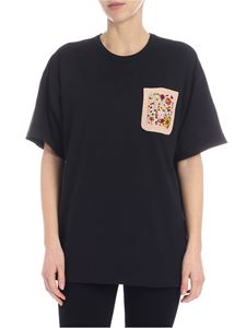 N° 21 - Black crew-neck t-shirt with beaded embroidery