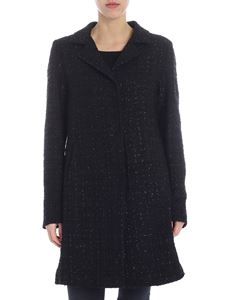 Herno - Black bouclé coat with lamé inserts