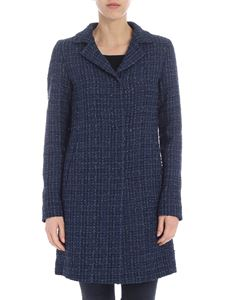 Herno - Blue bouclé coat with lamé inserts
