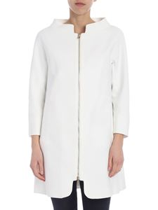 Herno - A-cut overcoat in white with three-quarter sleeves