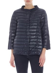 Herno - Blue quilted down jacket with three-quarter sleeves