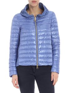 Herno - Light blue down jacket with pleats on the neckline
