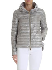 Herno - Grey down jacket with pleats on the neckline