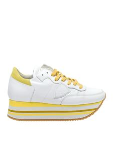 Philippe Model - Eiffel white and yellow sneakers