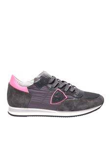 Philippe Model - Tropez L sneakers in gray and fuchsia