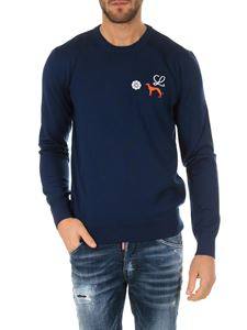 Loewe - Blue crewneck sweater with logo
