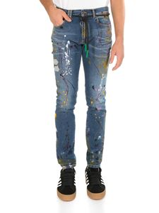 Off-White - Jeans skinny regular vintage paint blu