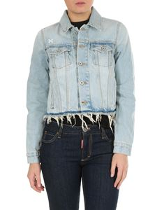 Off-White - Off-White crop jacket in delavé light blue denim