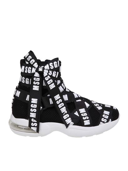 MSGM - Mesh sneakers with branded ribbons