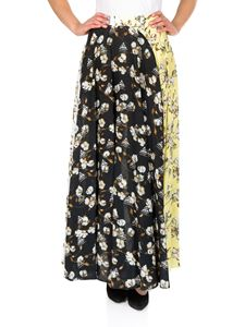 Off-White - Pleated crepe skirt with cotton flowers print