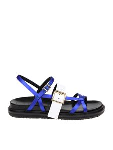 Marni - Blue and white satin sandals