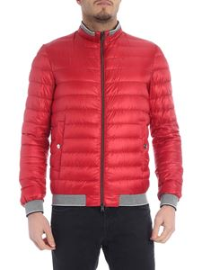 Herno - Red down jacket with gray knitted edges