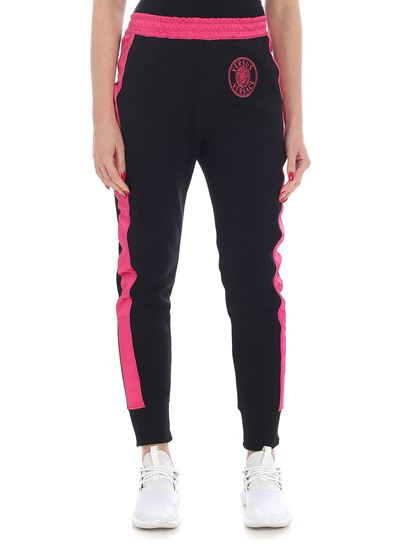 Versus Versace - Black and fuchsia trousers with logo