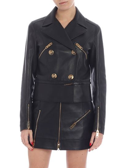 Versus Versace - Double-breasted jacket in black leather
