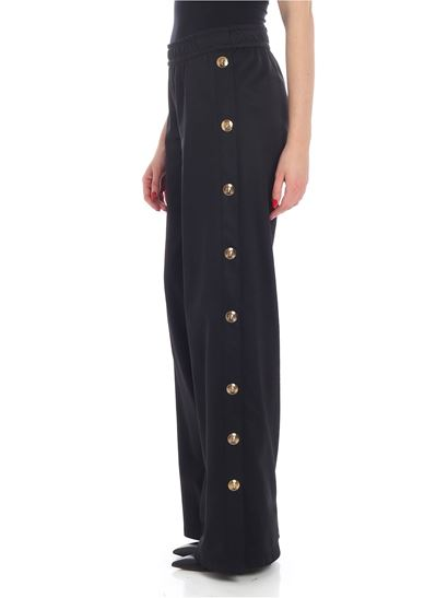 Versus Versace - Black palazzo trousers with golden buttons