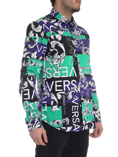 Versace Jeans - Multicolor shirt with white logo motif