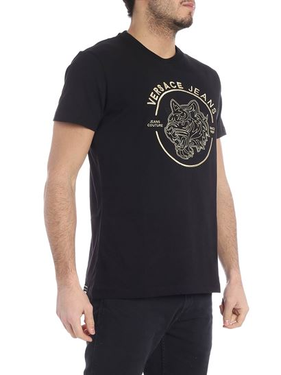 Versace Jeans - Black t-shirt with golden logo embroidery
