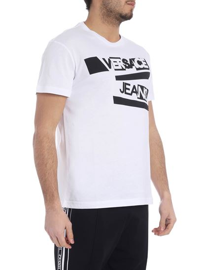 Versace Jeans - White crewneck t-shirt with contrasting logo