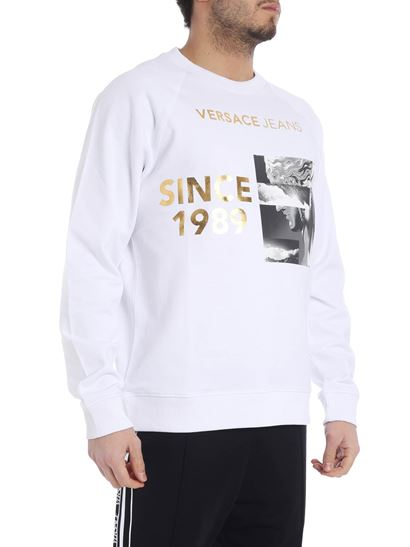 Versace Jeans - White sweatshirt with golden logo print