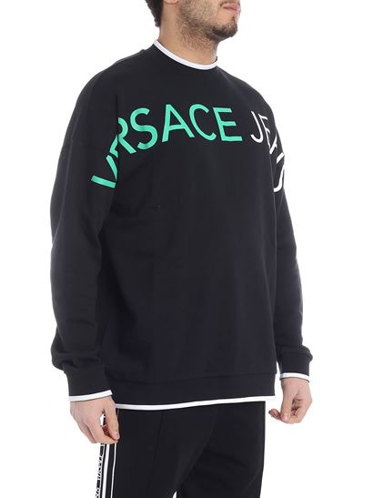 Versace Jeans - Black sweatshirt with green and white logo