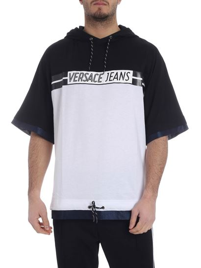 Versace Jeans - White and black t-shirt with hood