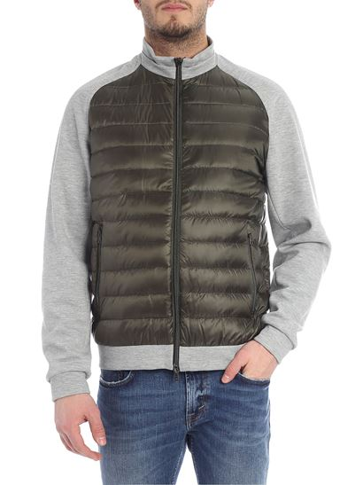 Herno - Green down jacket with gray fleece inserts