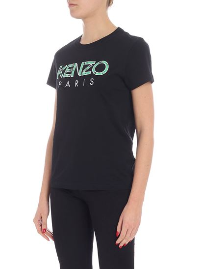 Kenzo - Black floral t-shirt with logo