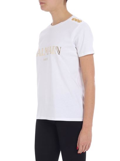 Balmain - White t-shirt with laminated logo and buttons