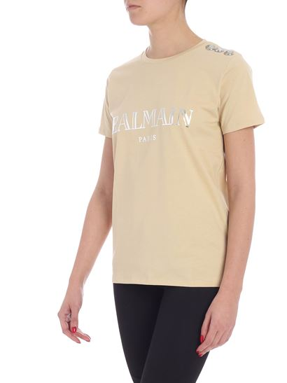 Balmain - Beige t-shirt with laminated logo and buttons
