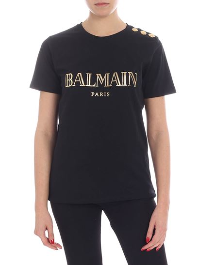 Balmain - Black t-shirt with laminated logo and buttons
