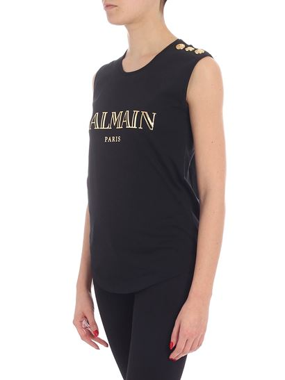 Balmain - Black sleeveless top with logo