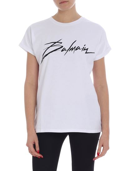 Balmain - White t-shirt with italic font logo