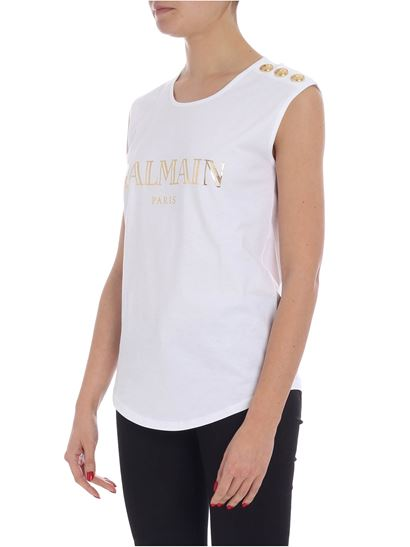 05231ab5fb2bc Balmain Spring Summer 2019 white sleeveless top with logo - RF11075 ...