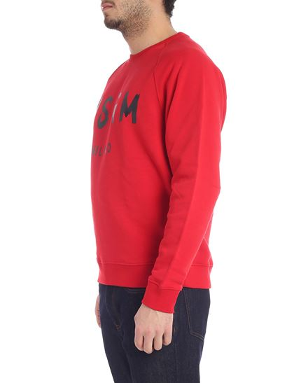 MSGM - Red sweatshirt with brushed logo